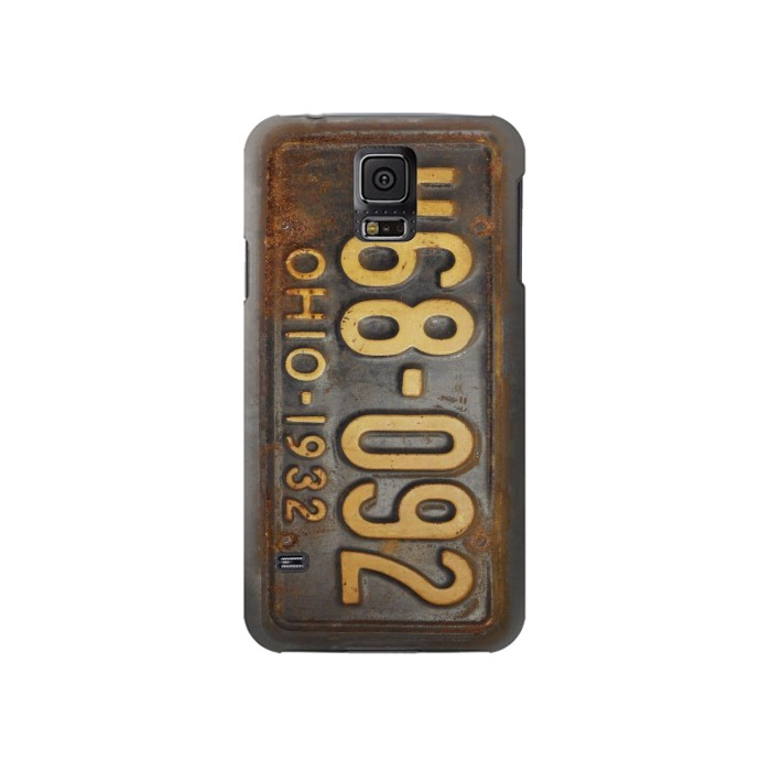 Printed Vintage Car License Plate Samsung Galaxy S5 Case
