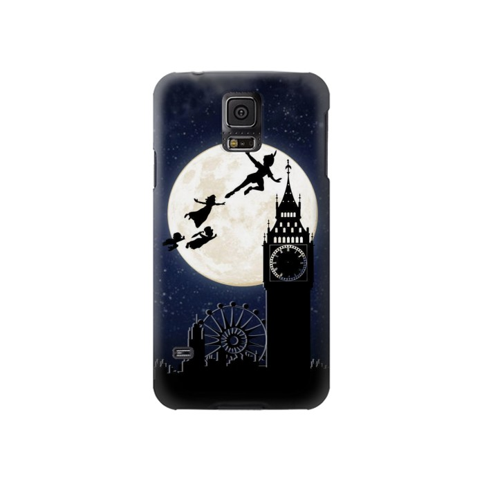 Printed Peter Pan Fly Fullmoon Night Samsung Galaxy S5 Case