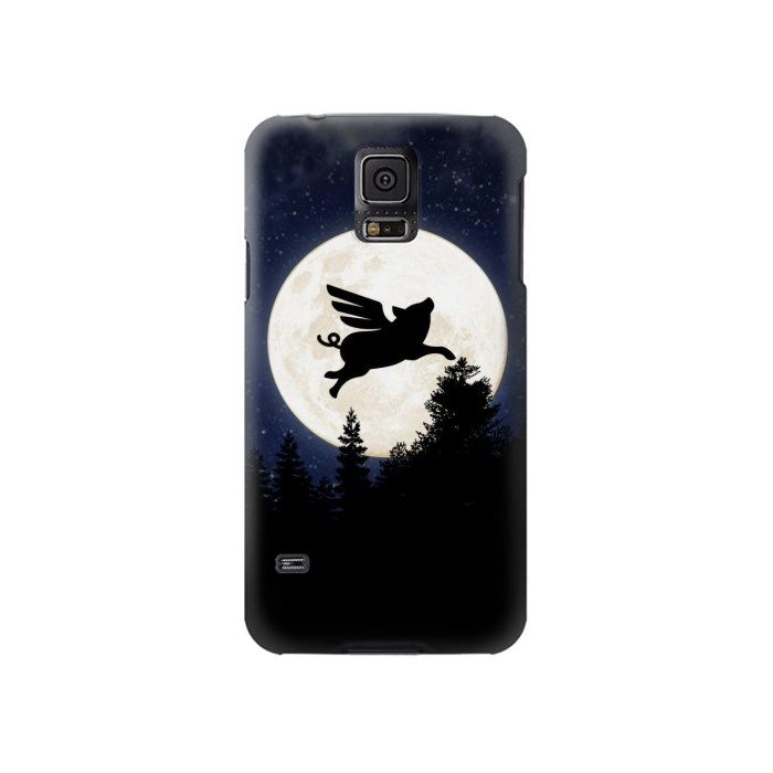 Printed Flying Pig Full Moon Night Samsung Galaxy S5 Case