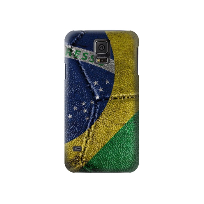Printed Brazil Flag Vintage Football 2018 Samsung Galaxy S5 Case