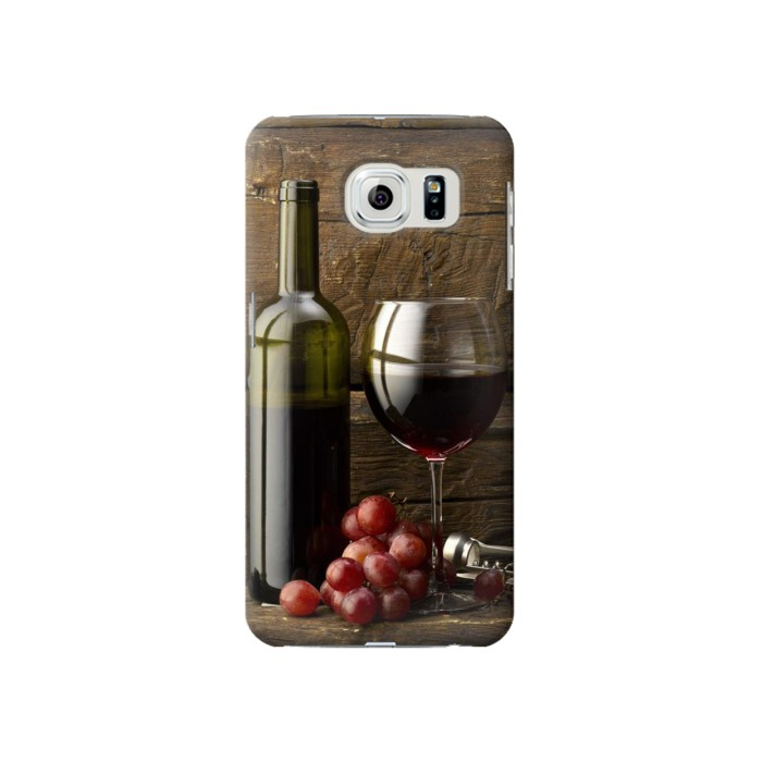 Printed Grapes Bottle and Glass of Red Wine Samsung Galaxy S6 Case
