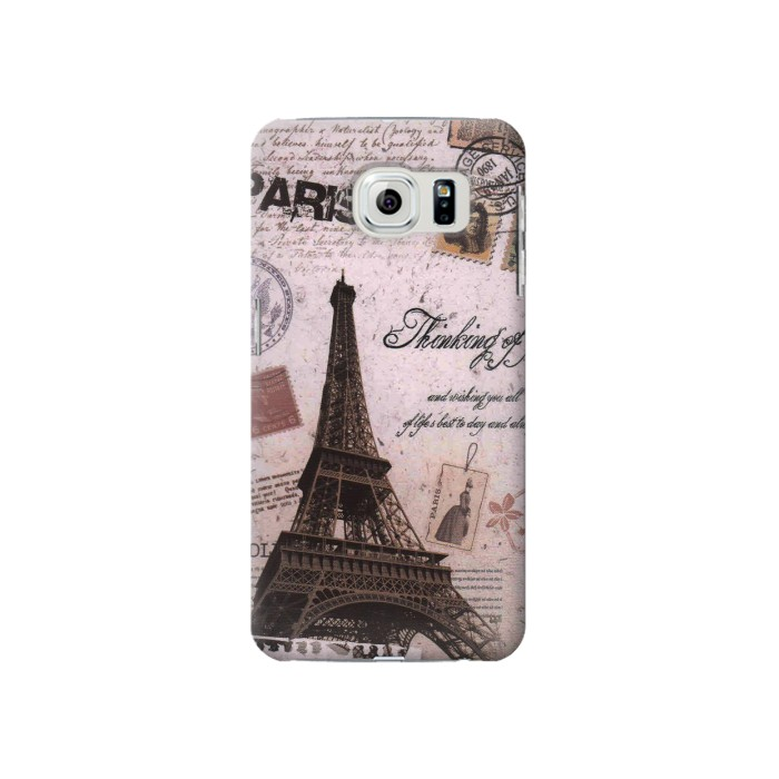 Printed Paris Postcard Eiffel Tower Samsung Galaxy S6 Case