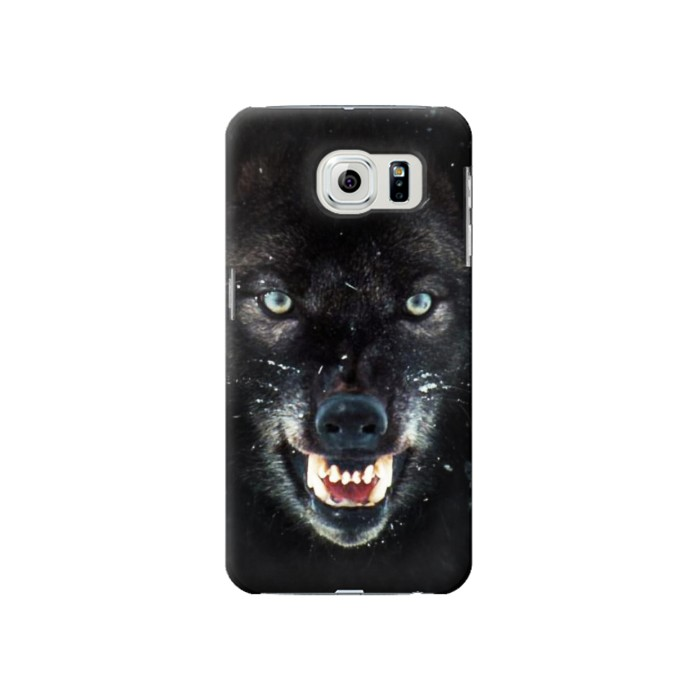 Printed Black Wolf Blue Eyes Face Samsung Galaxy S6 Case