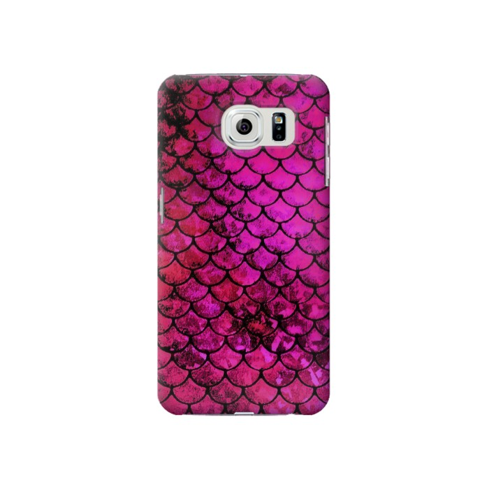 Printed Pink Mermaid Fish Scale Samsung Galaxy S6 Case