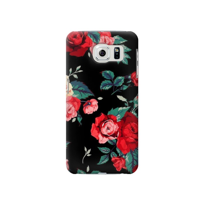 Printed Rose Floral Pattern Black Samsung Galaxy S6 Case