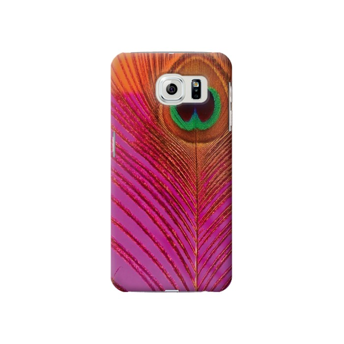 Printed Pink Peacock Feather Samsung Galaxy S6 Case