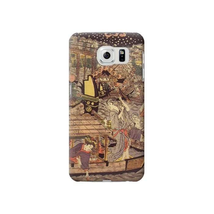 Printed Utagawa Kuniyasu Fireworks at Ryogoku Bridge Samsung Galaxy S6 Case