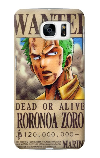 Printed One Piece Roronoa Zoro Wanted Poster Samsung Galaxy S7 Case