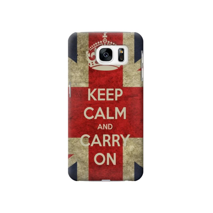 Printed Keep Calm and Carry On Samsung Galaxy S7 Case