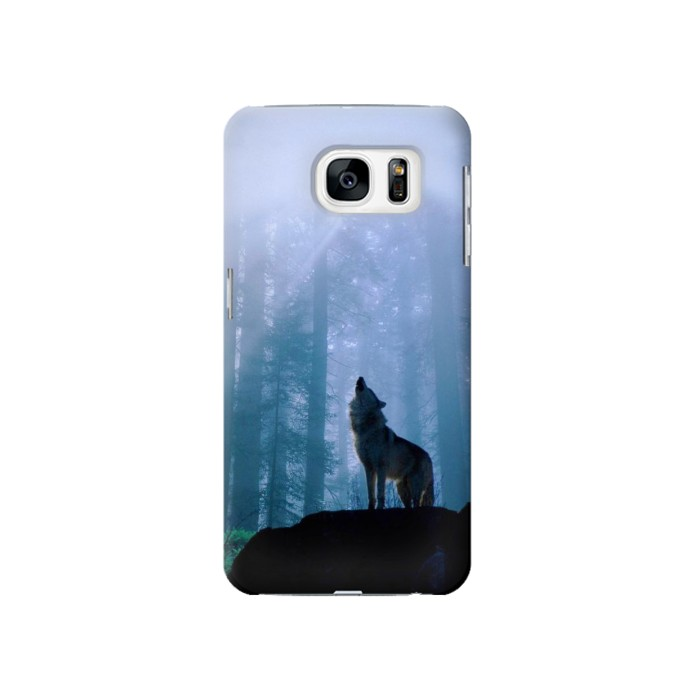 Printed Wolf Howling in Forest Samsung Galaxy S7 Case