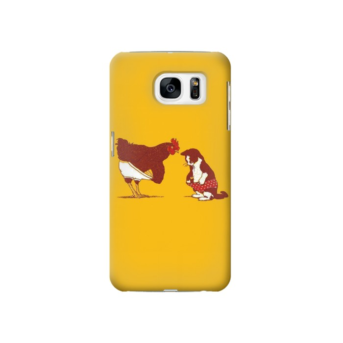 Printed Rooster and Cat Joke Samsung Galaxy S7 Case