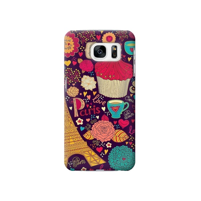 Printed Paris Cartoon Vintage Pattern Samsung Galaxy S7 Case