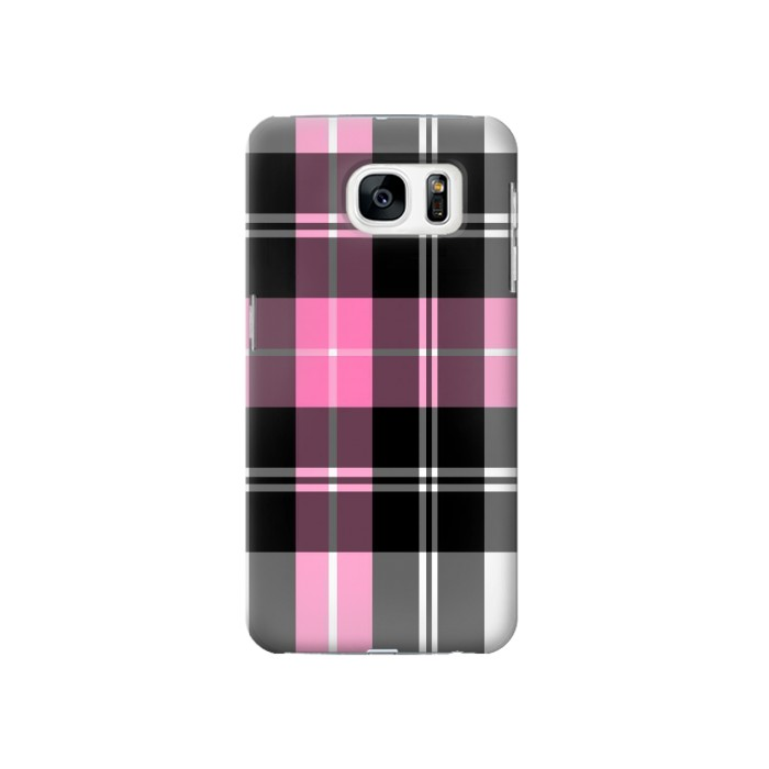 Printed Pink Plaid Pattern Samsung Galaxy S7 Case
