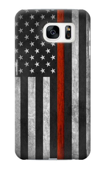 Printed Firefighter Thin Red Line Flag Samsung Galaxy S7 Case