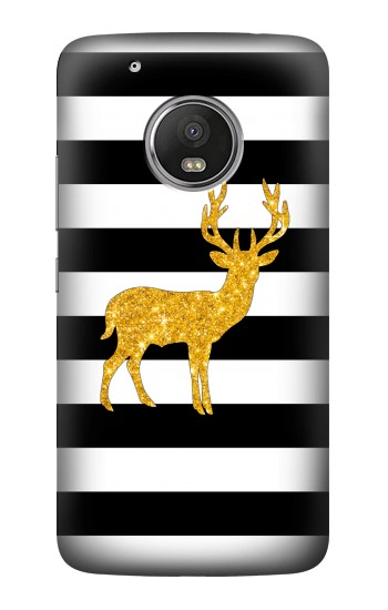 Printed Black and White Striped Deer Gold Sparkles HTC One (E8) Case