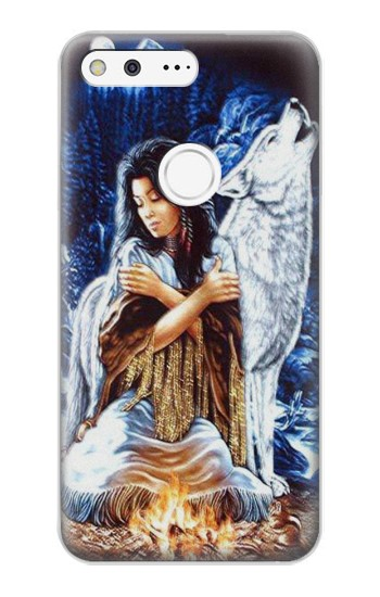 Printed Grim Wolf Indian Girl Google Pixel XL Case