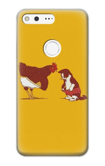 Printed Rooster and Cat Joke Google Pixel XL Case