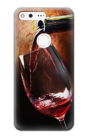 Printed Red Wine Bottle And Glass Google Pixel XL Case