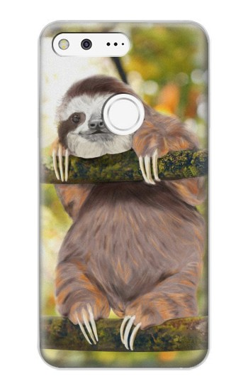 Printed Cute Baby Sloth Paint Google Pixel XL Case
