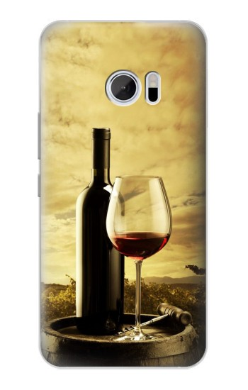 Printed A Grape Vineyard Grapes Bottle and Glass of Red Wine HTC 10 Case