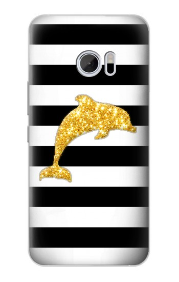 Printed Black and White Striped Dolphin Gold Glitter HTC 10 Case
