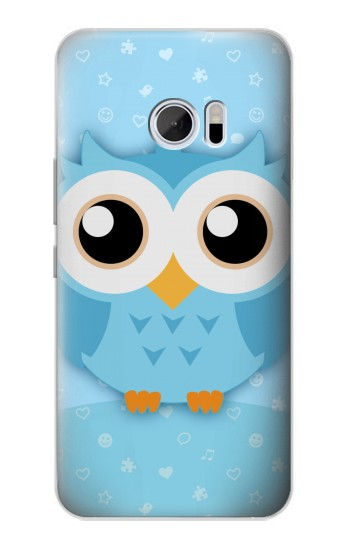 Printed Cute Blue Owl HTC 10 Case