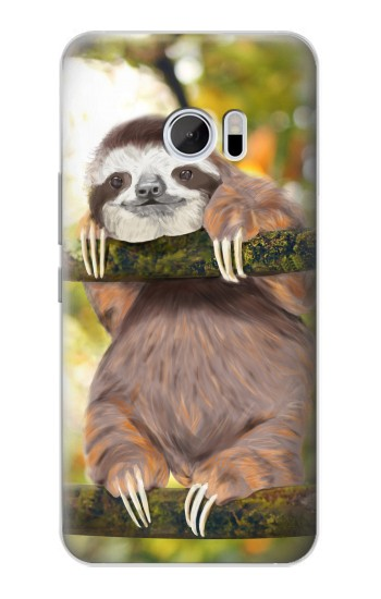 Printed Cute Baby Sloth Paint HTC 10 Case
