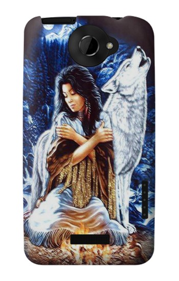 Printed Grim Wolf Indian Girl HTC One X Case