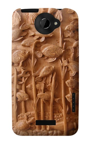 Printed Fish Wood Carving Graphic Printed HTC One X Case