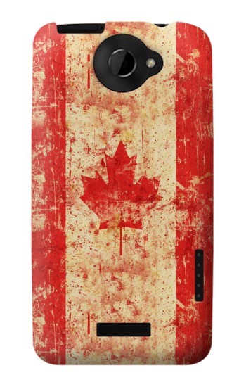 Printed Canada Flag Old Vintage HTC One X Case