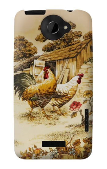Printed French Country Chicken HTC One X Case