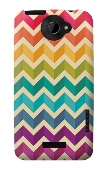 Printed Rainbow Colorful Shavron Zig Zag Pattern HTC One X Case