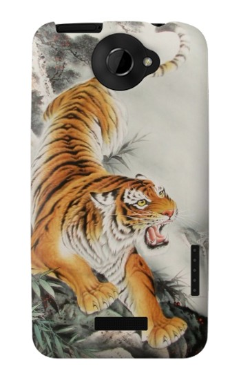 Printed Chinese Tiger Tattoo Painting HTC One X Case