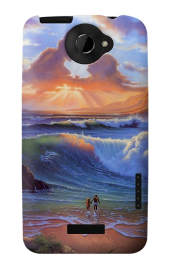 Printed Vintage Paradise Beach HTC One X Case