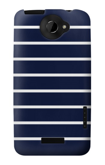 Printed Navy White Striped HTC One X Case