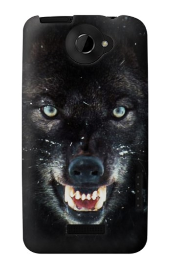 Printed Black Wolf Blue Eyes Face HTC One X Case