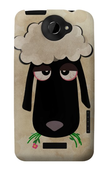 Printed Cute Cartoon Unsleep Black Sheep HTC One X Case