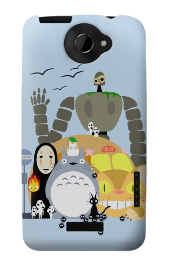 Printed Totoro Cat Bus Laputa Noface and Friends HTC One X Case