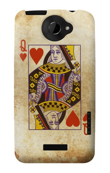 Printed Poker Card Queen Hearts HTC One X Case