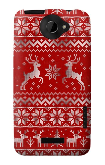 Printed Christmas Reindeer Knitted Pattern HTC One X Case