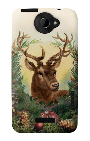 Printed Vintage Reindeer Christmas HTC One X Case