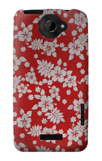 Printed Vintage Red Hawaiian Flower Pattern HTC One X Case