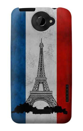 Printed Vintage France Flag Eiffel Tower HTC One X Case
