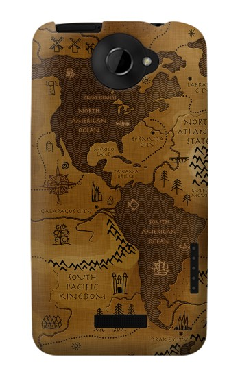 Printed Antique Style Map HTC One X Case