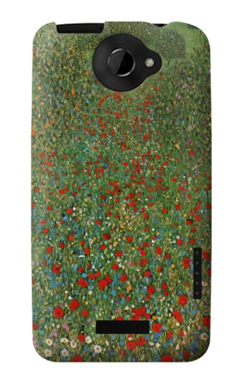 Printed Gustav Klimt Poppy Field HTC One X Case