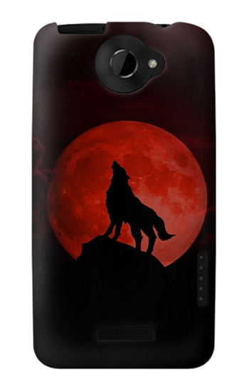 Printed Wolf Howling Red Moon HTC One X Case