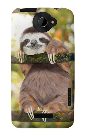 Printed Cute Baby Sloth Paint HTC One X Case