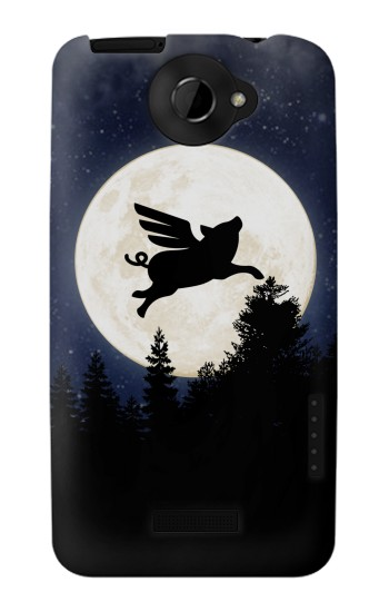 Printed Flying Pig Full Moon Night HTC One X Case