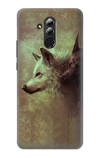 Printed White Black Wolf Huawei Mate 20 lite Case