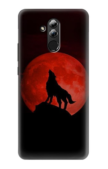 Printed Wolf Howling Red Moon Huawei Mate 20 lite Case
